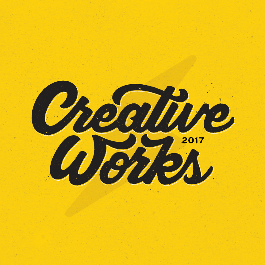 "script lettering with lightning bolt ""Creative works"" Designer: Katie Cooper"