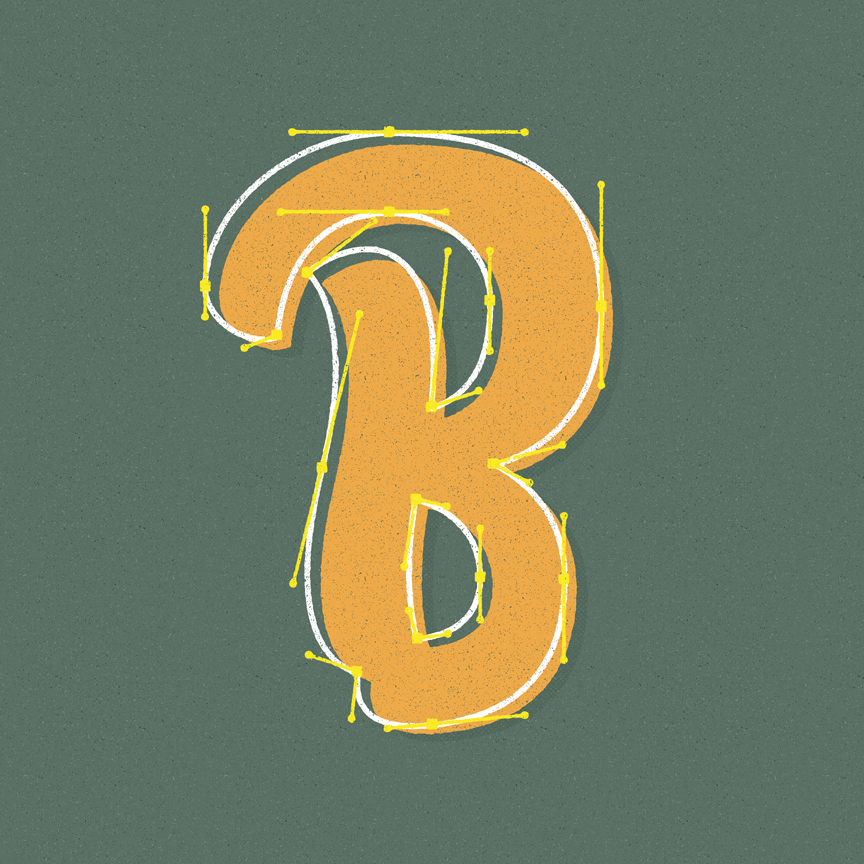 Script B with out line and illustrator Bezier curves and paths