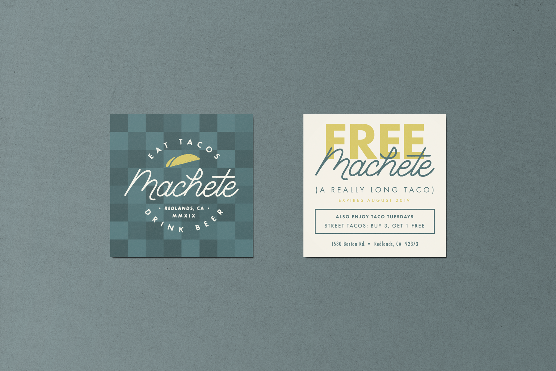 Marketing Collateral Coupon for Machete using checkered patterned and badge logo