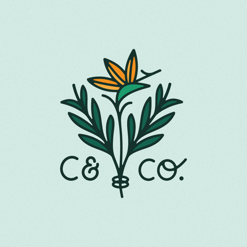 Creative Director & Designer: Katie Cooper Connor & Co. Wedding Planning and Floral Curation Brand Identity, Logo Design, Branding, Illustration, Web Design, Hand-Lettering, Custom Logo Memphis, TN