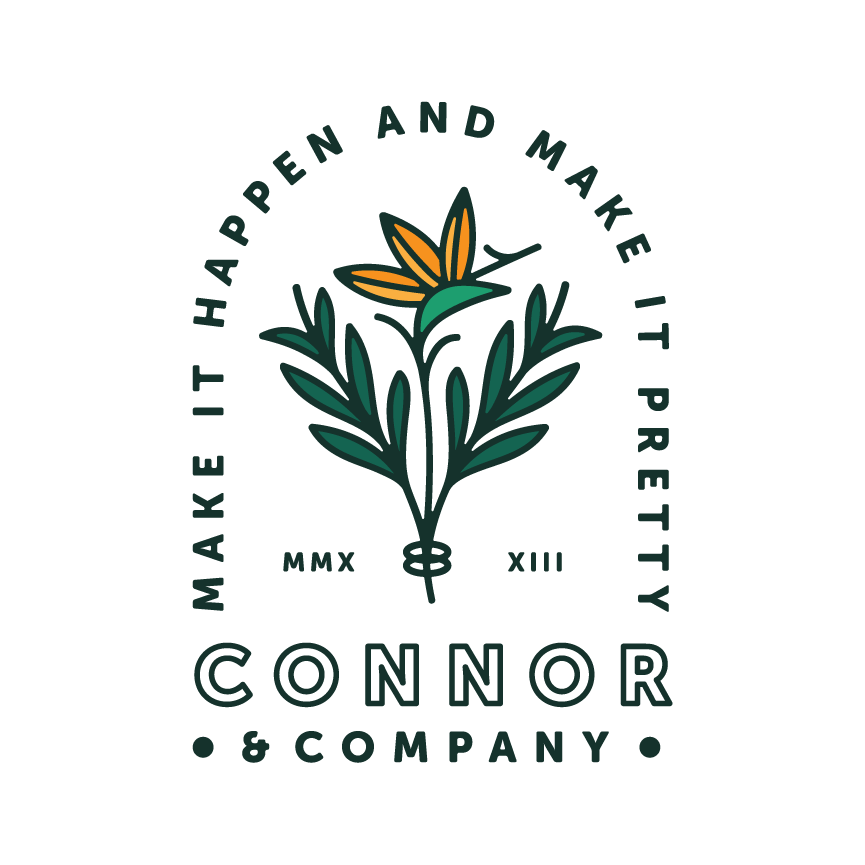 "crest logo design for Connor & Co. ""Make it pretty and make it happen"" Designer: Katie Cooper"