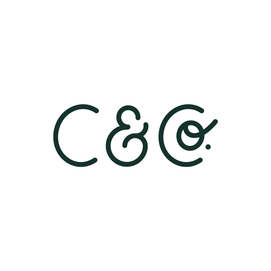 Initial logo hand lettered with C & Co. Designer: Katie Cooper