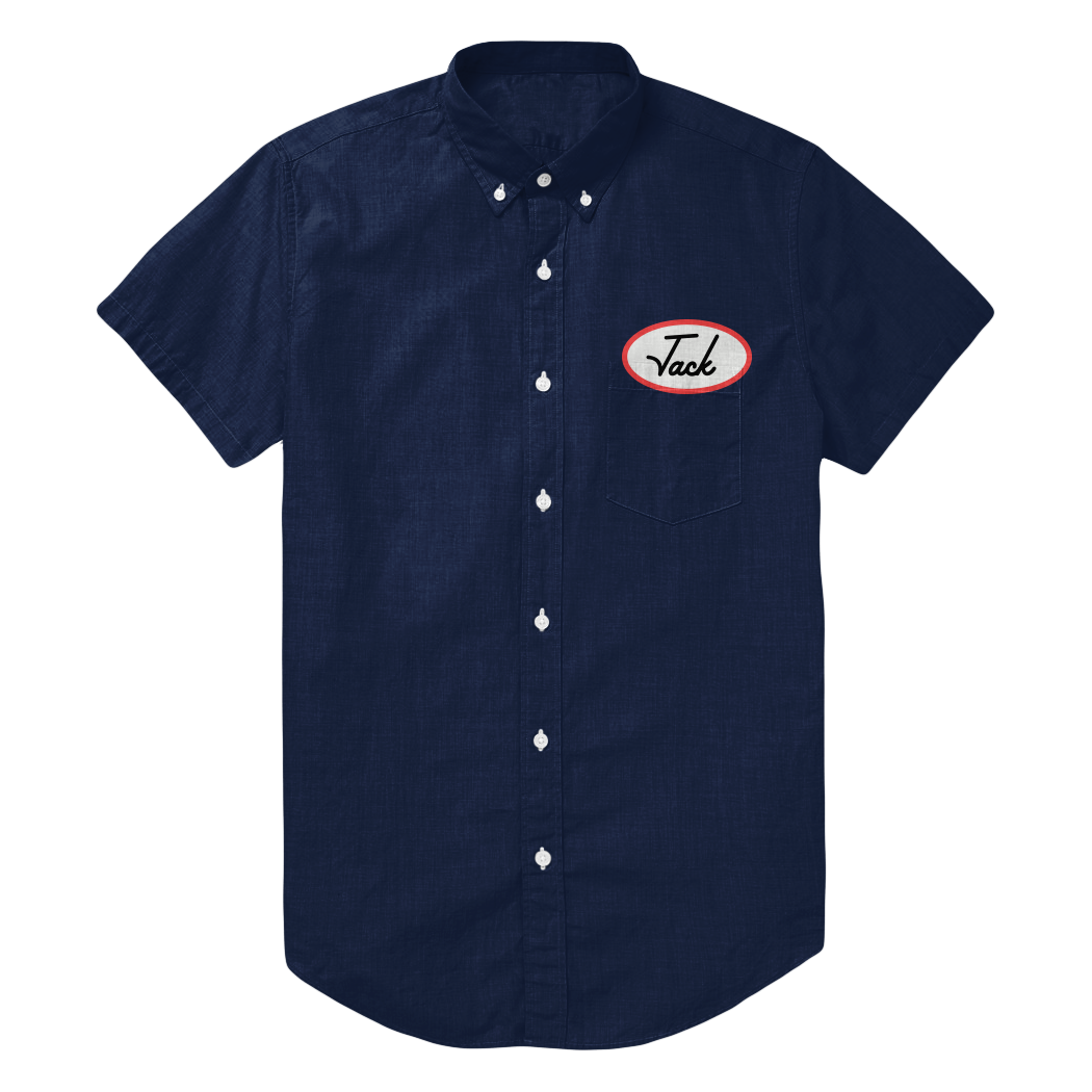 Embroidered button up with branded name tag company apparel