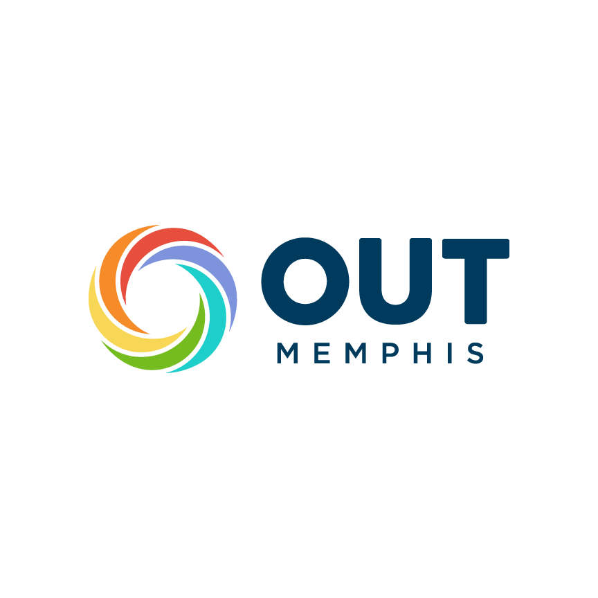 logo and branding for outmemphis. Rainbow swirl
