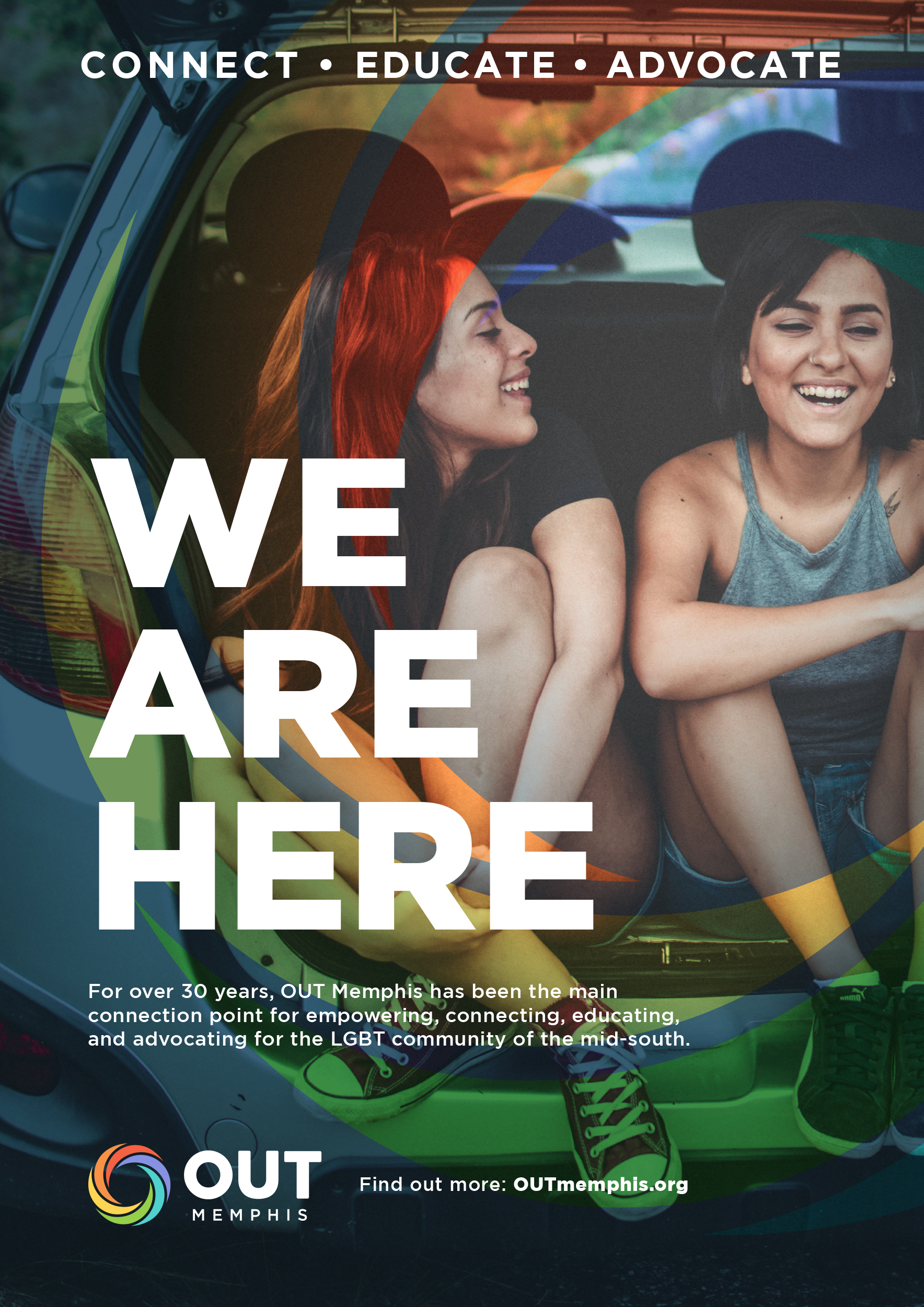 outmemphis ad campaign poster with two girls and text We are here.