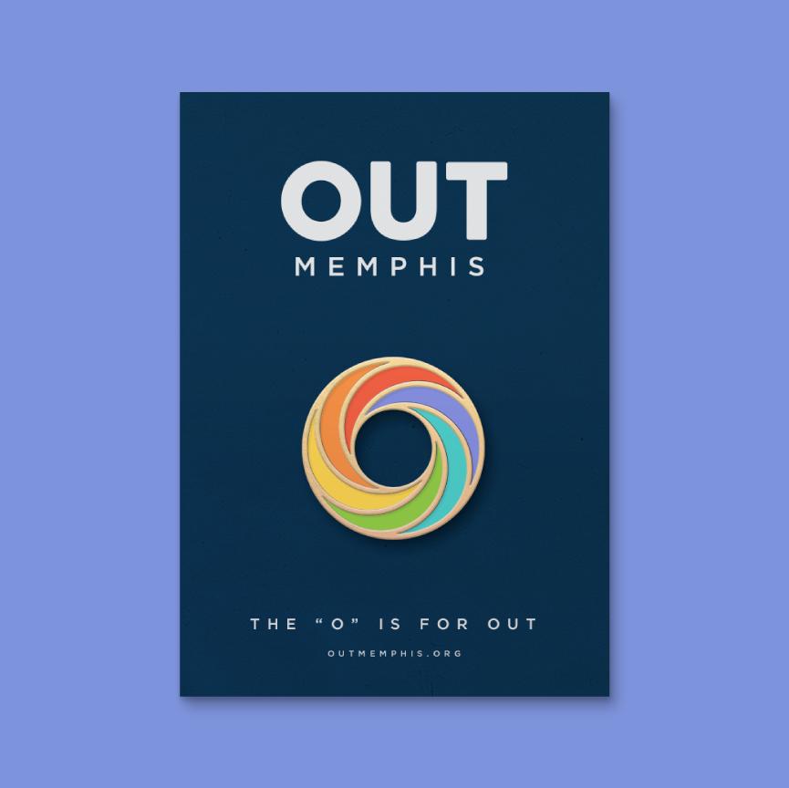 outmemphis logo as an enamel pin