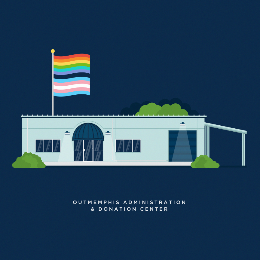admin and donation center with pride and transgender flags