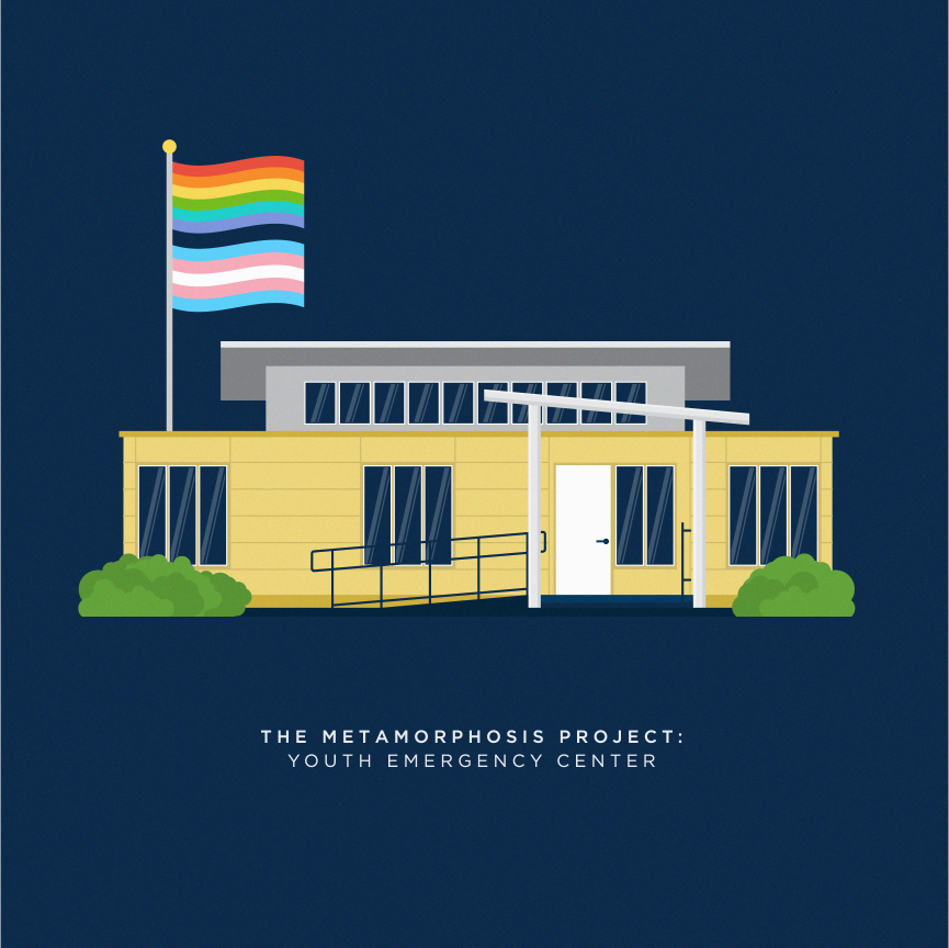 youth emergency center building illustration with pride and transgender flags