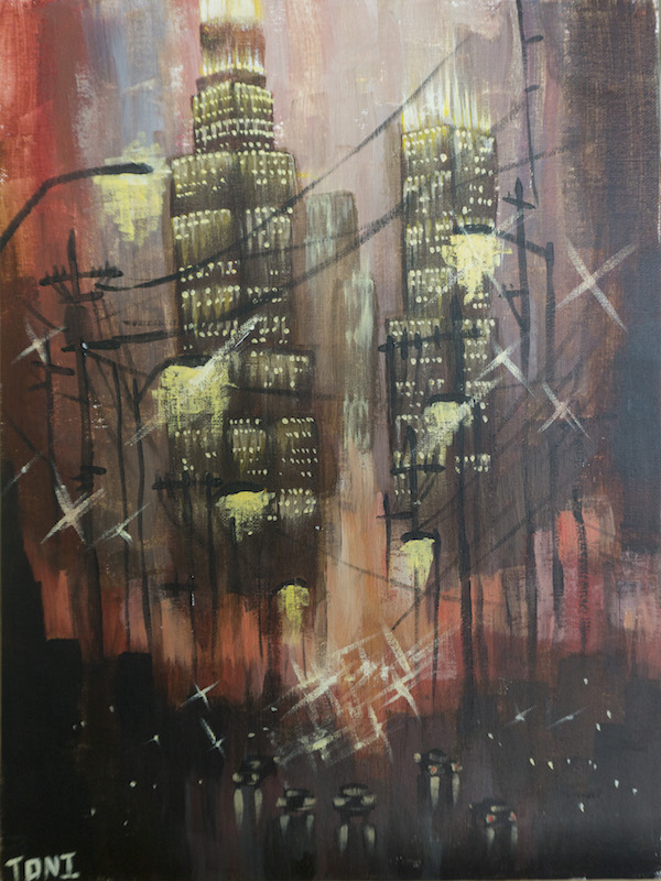 Acrylic PaintingCityNight ViewPeaceful