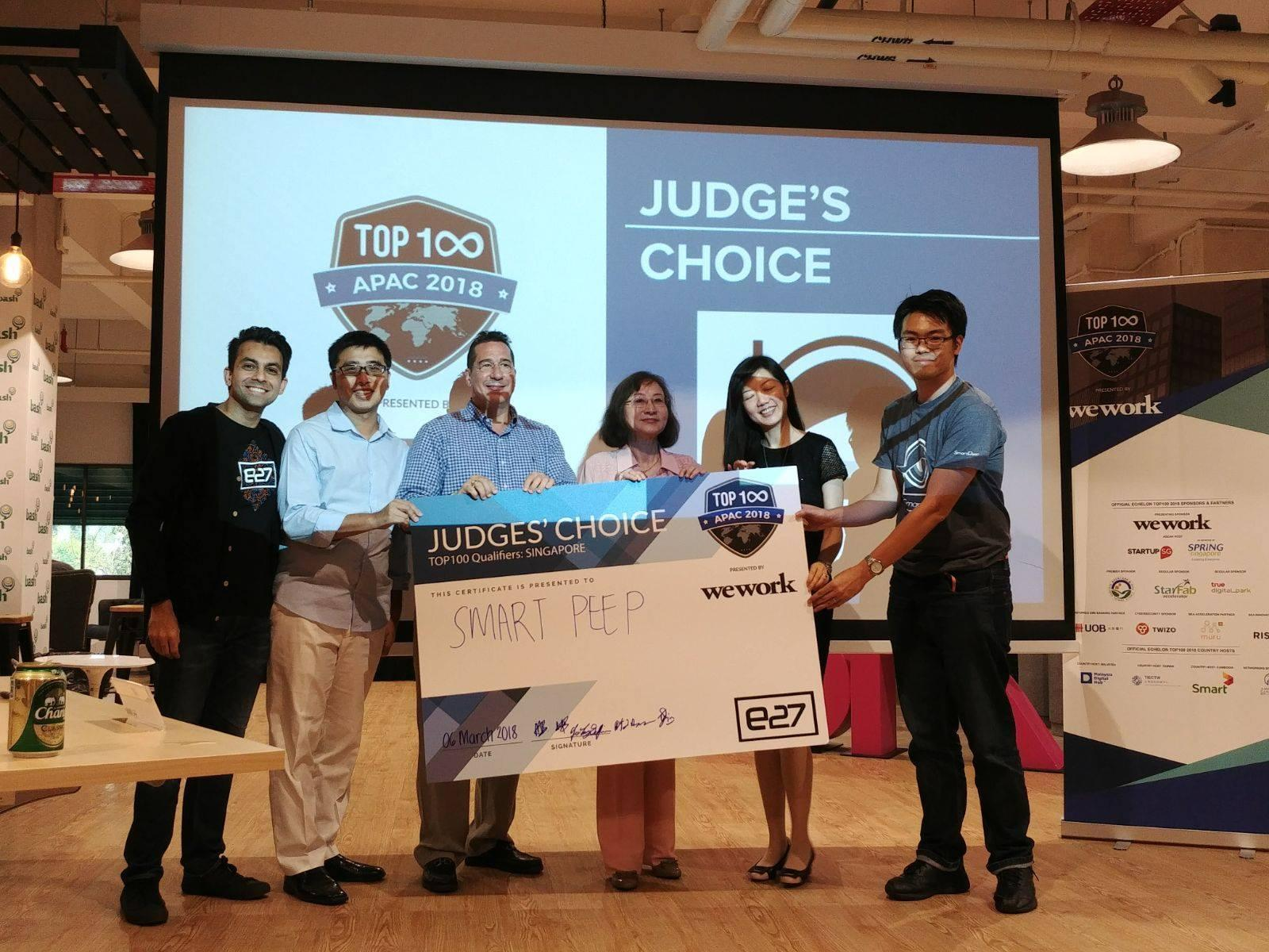 SmartPeep's innovative elderly safety monitoring technology wins Judges' Choice Award at Echelon TOP 100 APAC 2018