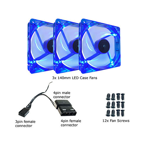 Connecting to Power Supply or Motherboard 3pin Motherboard Silent Blue LED Case Fan Apevia AF314L-BL 140mm 4pin Molex 3-pk