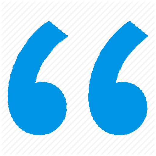 Icône représentant un guillemet bleu