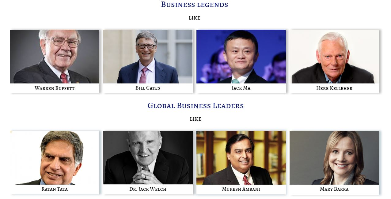 Image of Business Legends & Global Business leaders whose Thoughts, Actions, Advice, Life & Inspiration  are being tracked by Leaderclasses