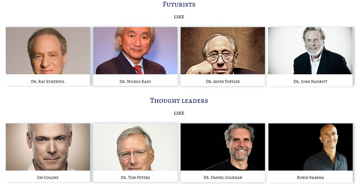Image of Futurists & Thought Leaders whose Thoughts, Actions, Advice, Life & Inspiration are being tracked by Leaderclasses