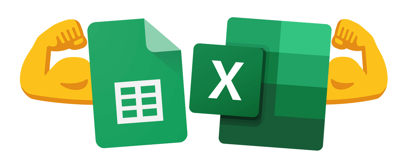 Spreadsheets like Google Sheets and Microsoft Excel Logos are Strong together