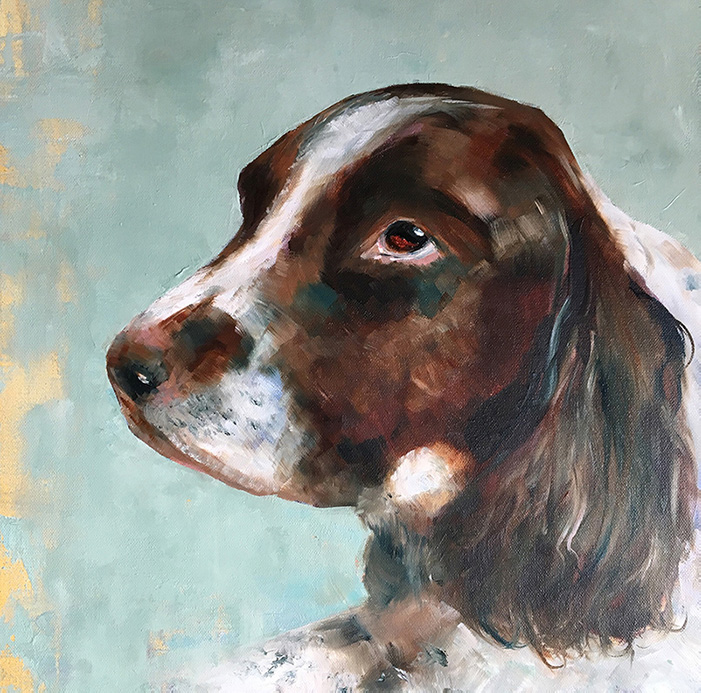 Oil painting of spaniel by Maria Laffey