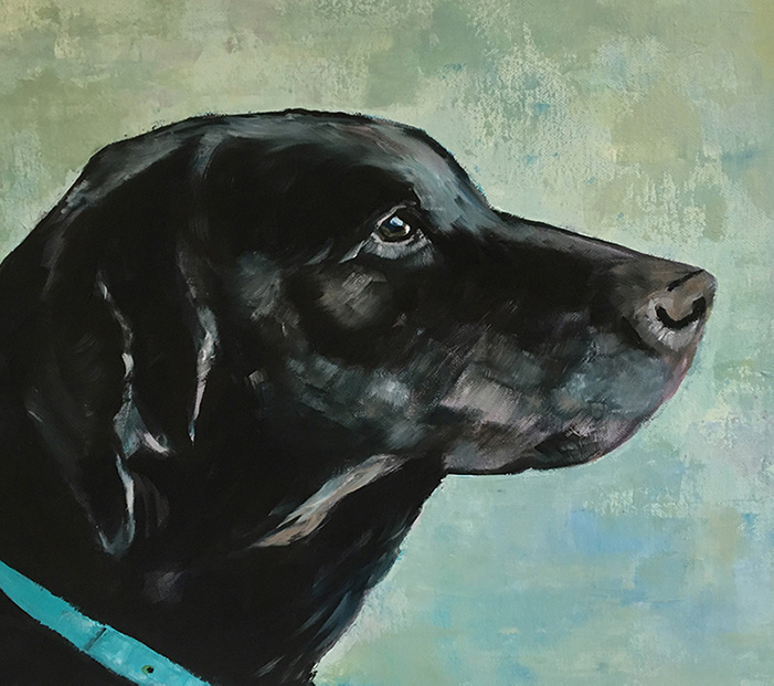 Oil Painting of labrador by Maria Laffey