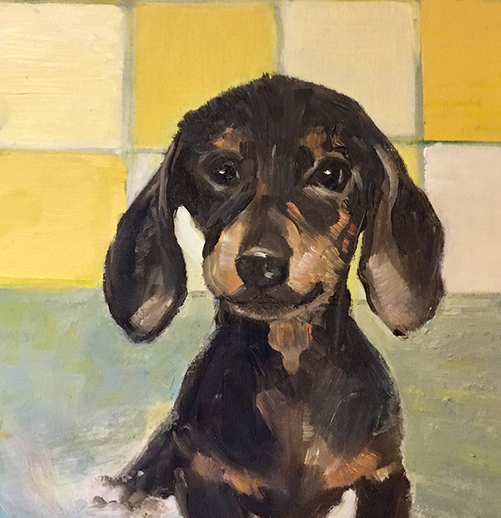 Oil Painting of little sausage dog in bath by Maria Laffey