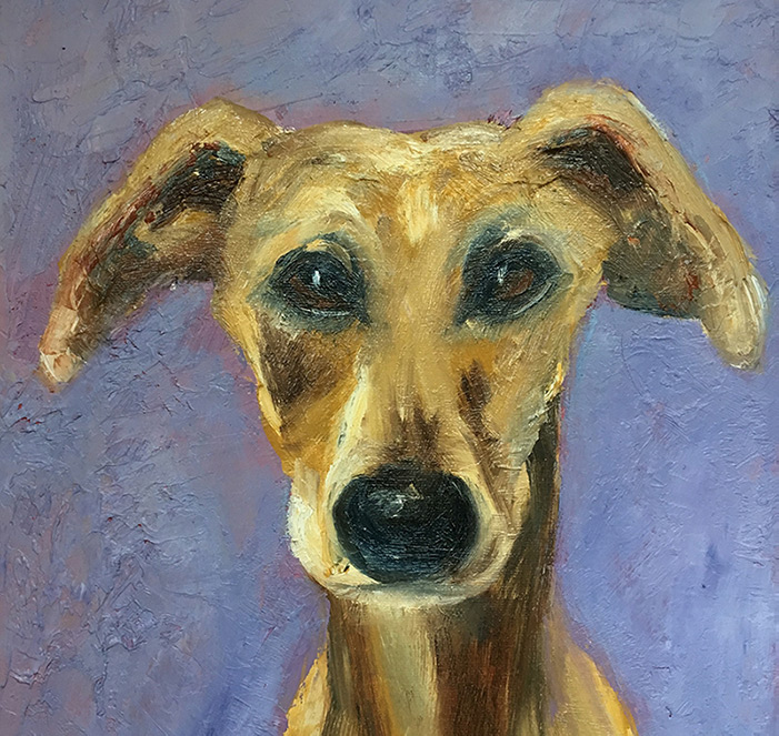 oil painting of dog with purple background by Maria Laffey