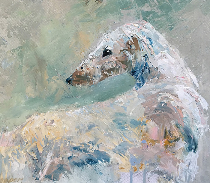oil painting of borzoi dog with cream colours by Maria Laffey