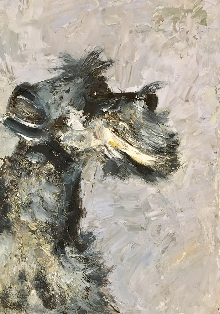 oil painting of schnauzer by Maria Laffey