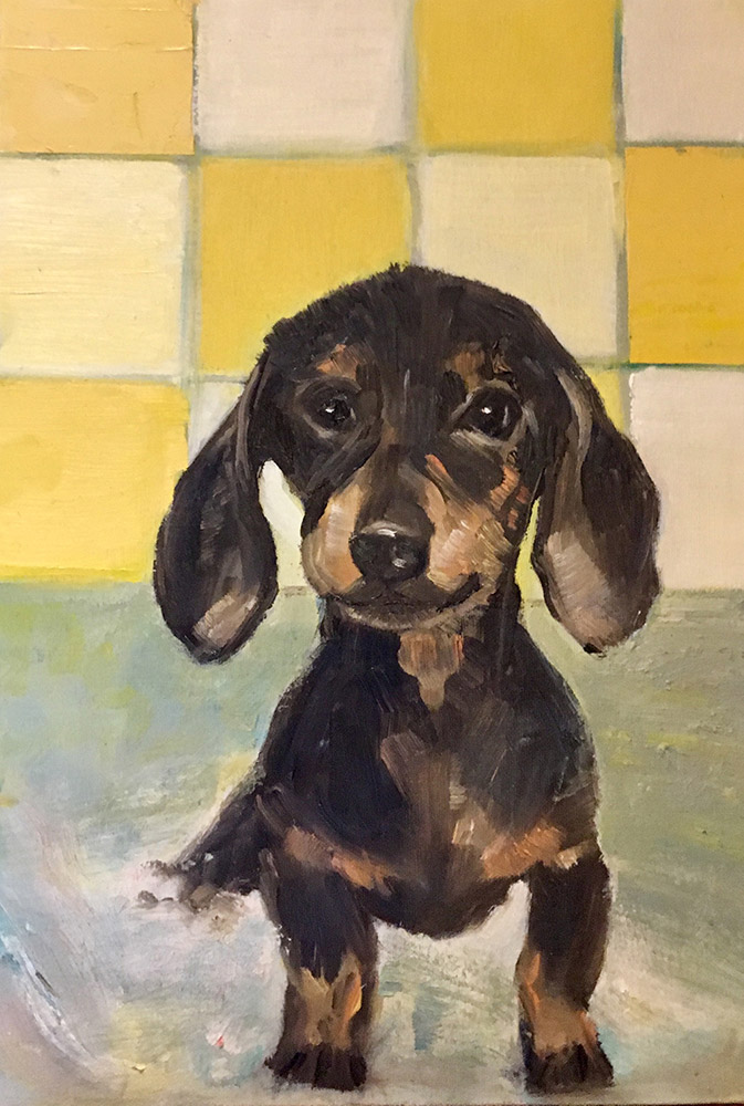 oil painting of little sausage dog in bathroom by Maria Laffey