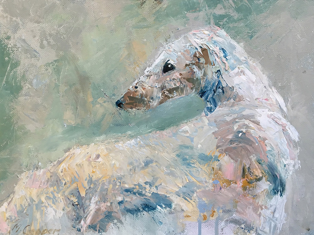 Oil painting of Borzoi dog in cream colours by Maria Laffey