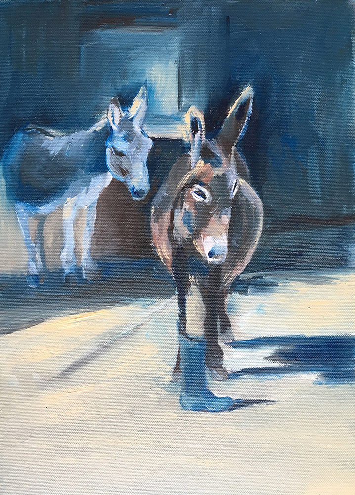 Two Donkey in stable, oil painting by Maria Laffey