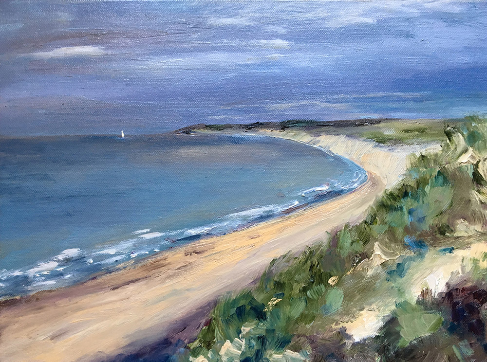 English Coast, sandy beach, sea and grey sky, oil painting by Maria Laffey