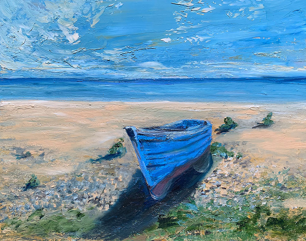 Beach in England with blue boat, oil on canvas painting by Maria Laffey