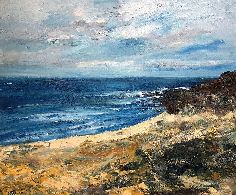 english coast, beach, sea and sky, oil on canvas painting by Maria LAffey