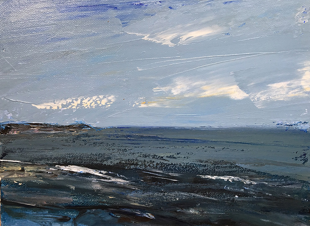 oil painting of sea, sky and coast in England by Maria Laffey