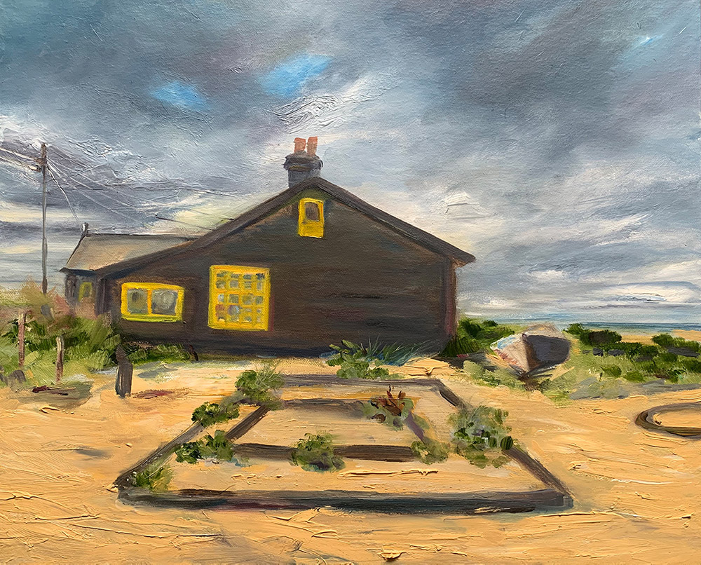small wooden house, grey sky, oil painting by Maria Laffey