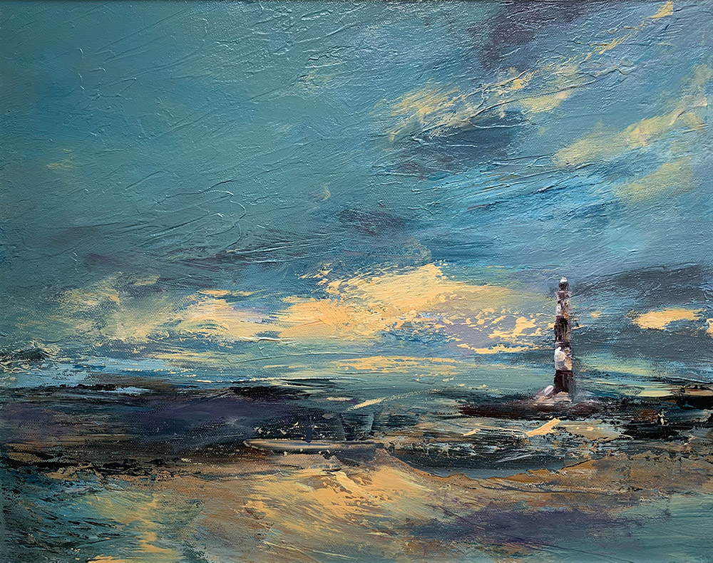 Lighthouse in sea with stormy weather, oil on canvas painting by Maria Laffey