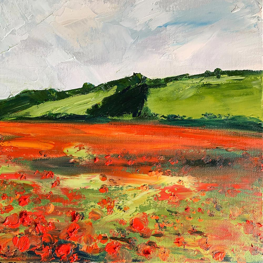 Poppy field and blue sky, oil on canvas painting by Maria Laffey