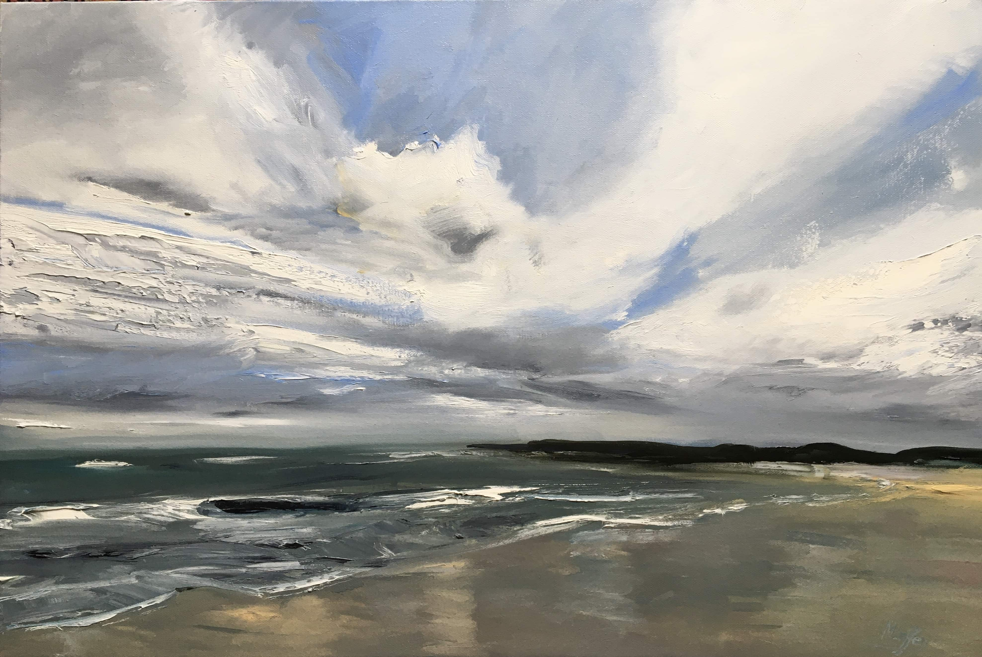 an oil painting on canvas of druridge bay dramatic sky and seascape