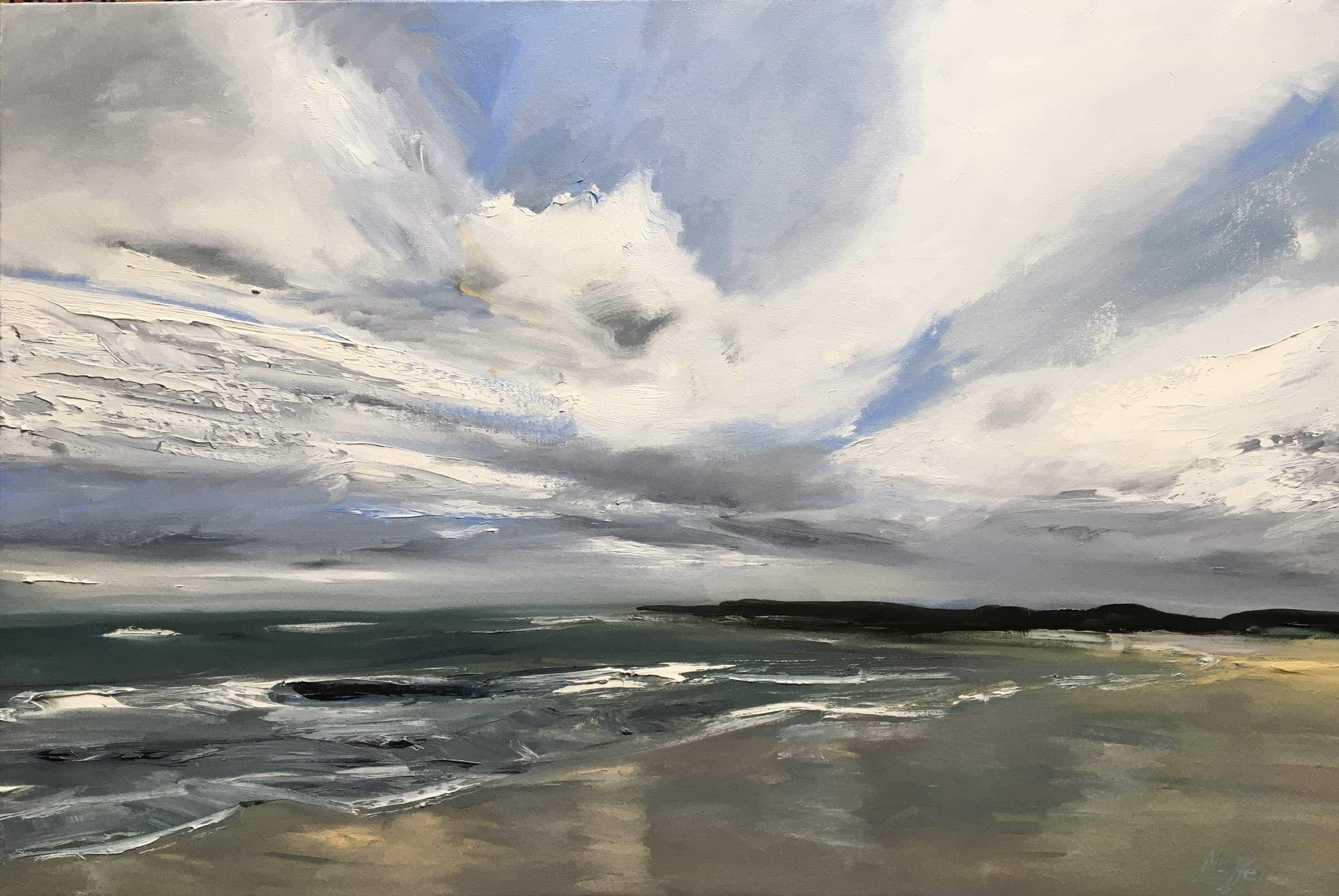 Oil Painting Druridge bay seascape northumberland