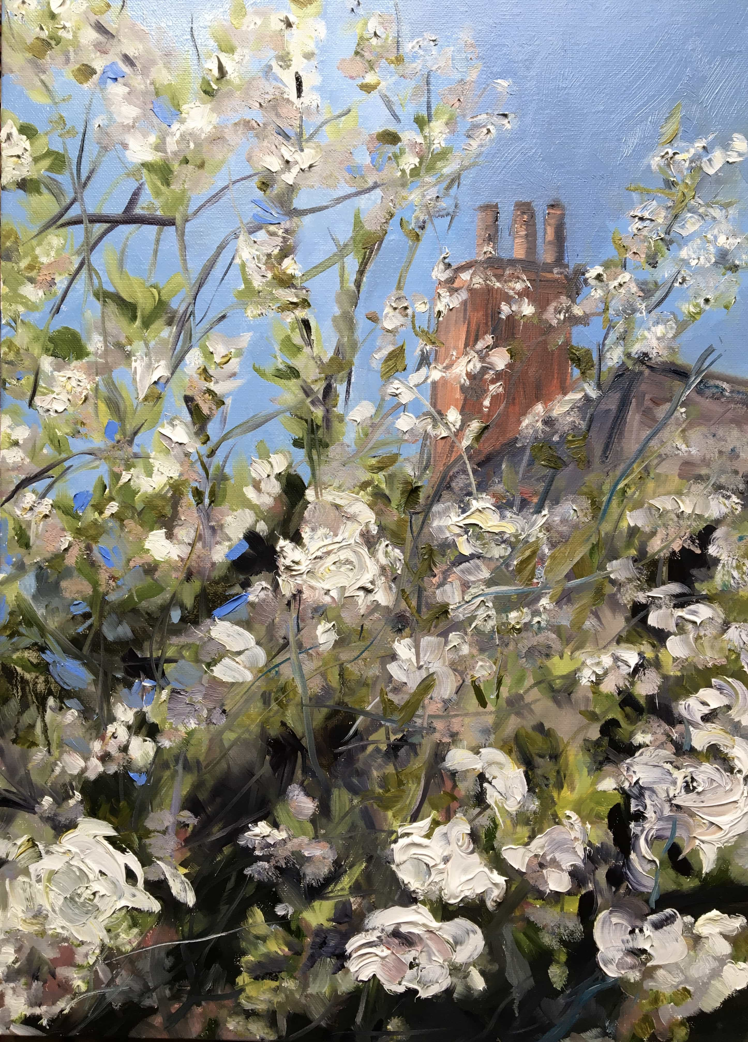 oil on canvas oil painting of apple blossom blue sky and chimney pots
