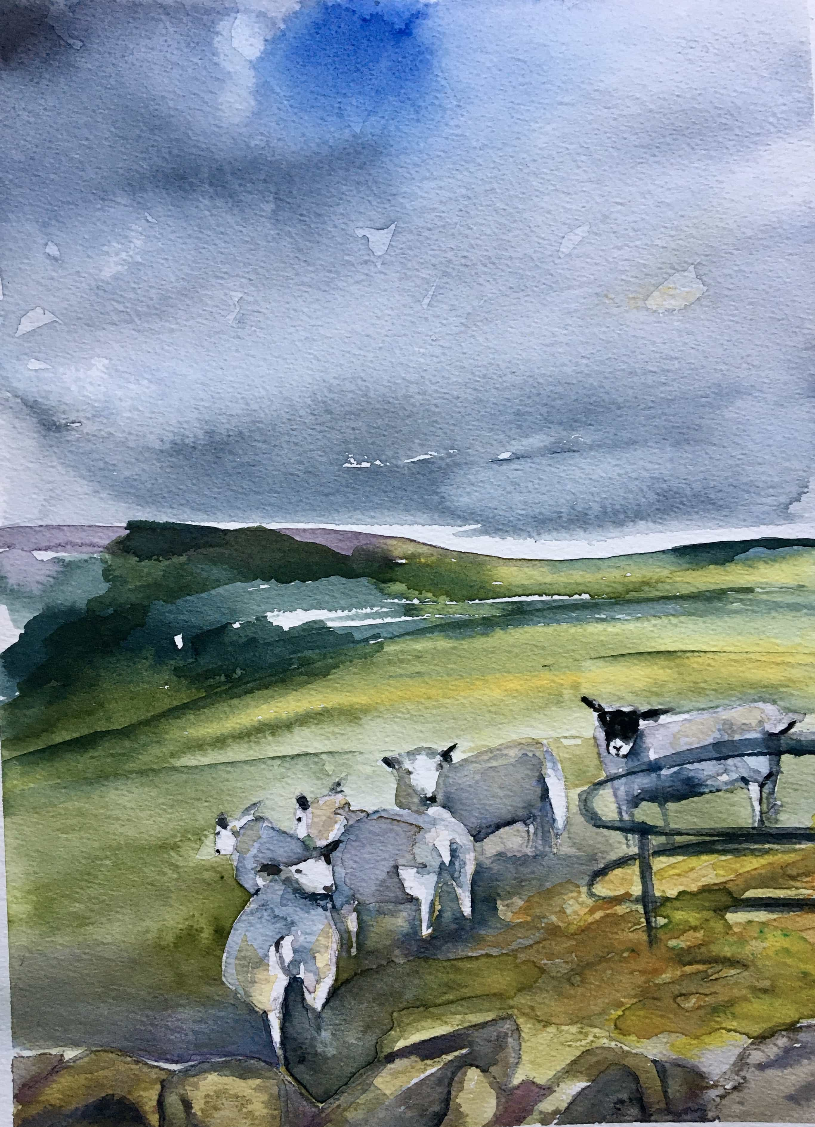 Watercolour sheep northumberland landscape painting