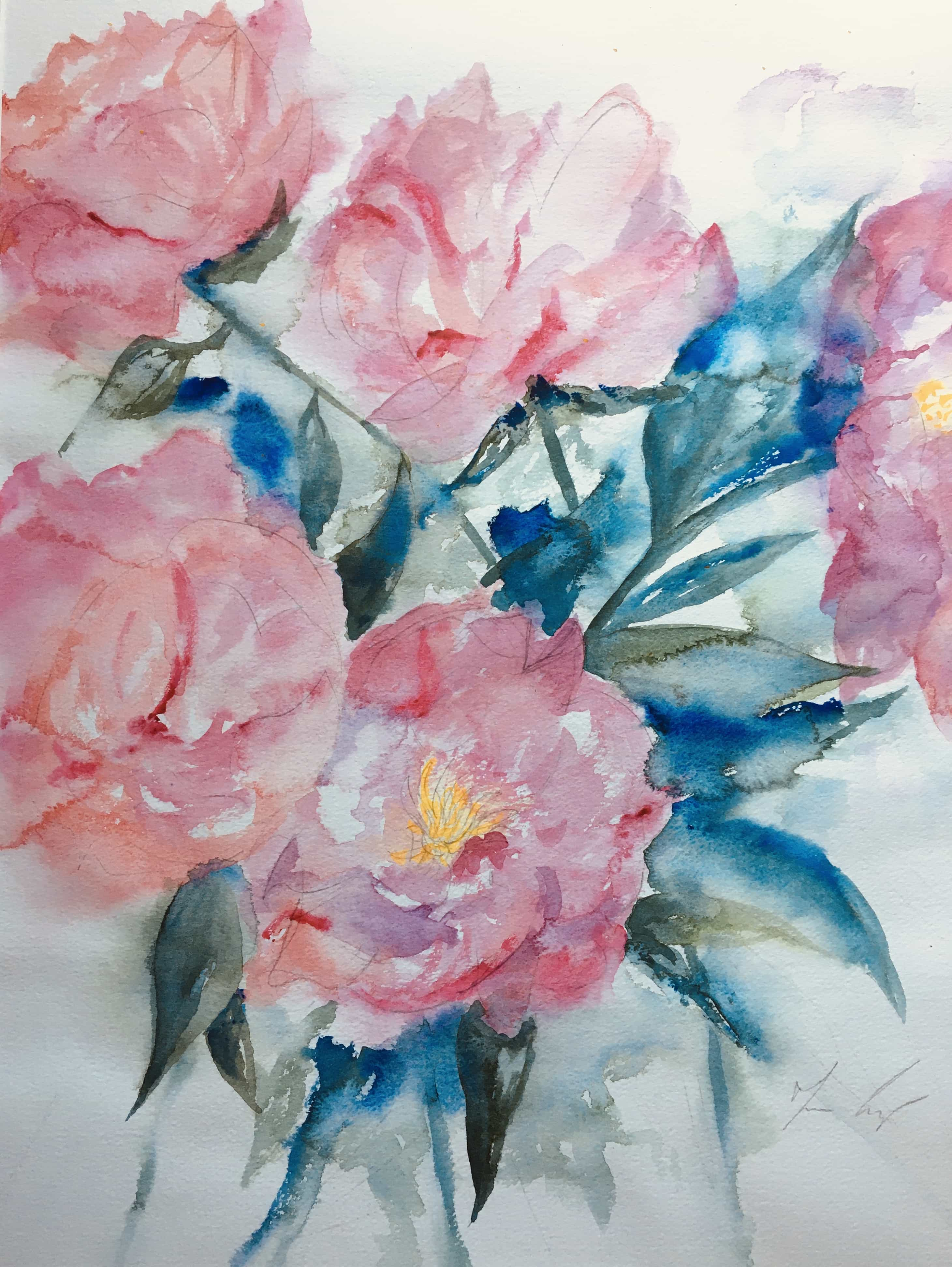watercolour peonies