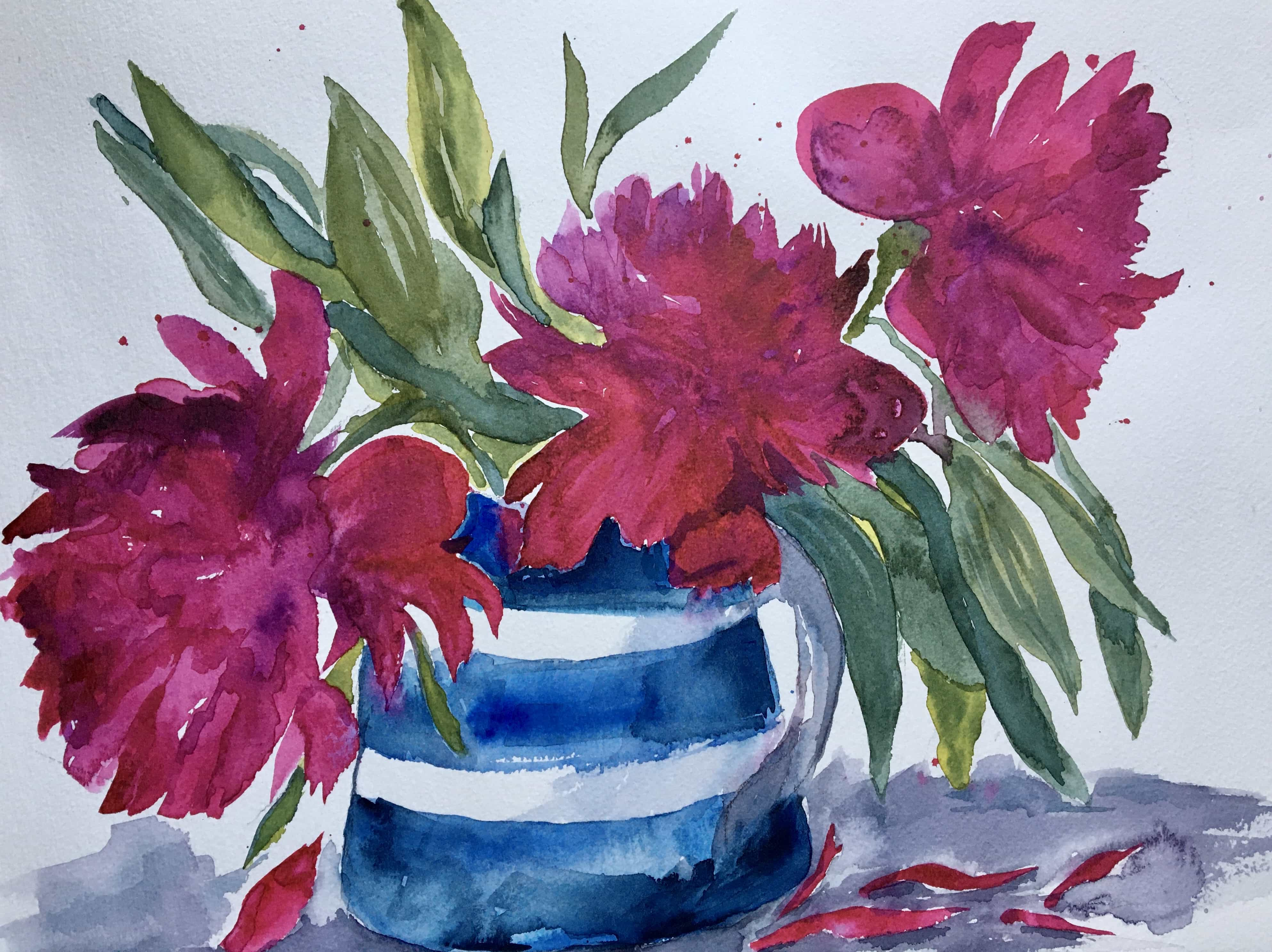 watercolour peonies blue and white striped jug cornishware