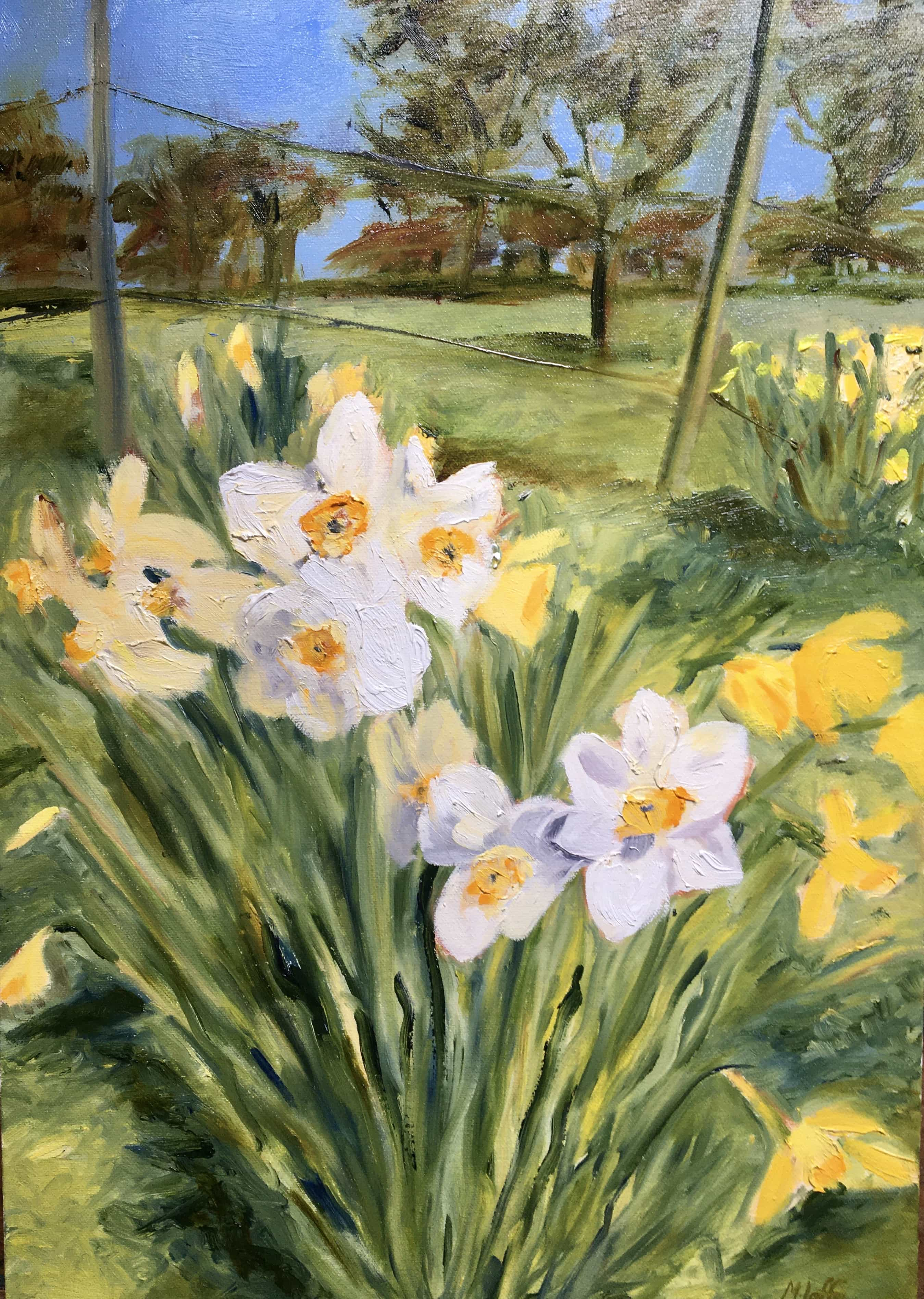 Oil panting of daffodils narcissi spring flowers yellow against a blue sky