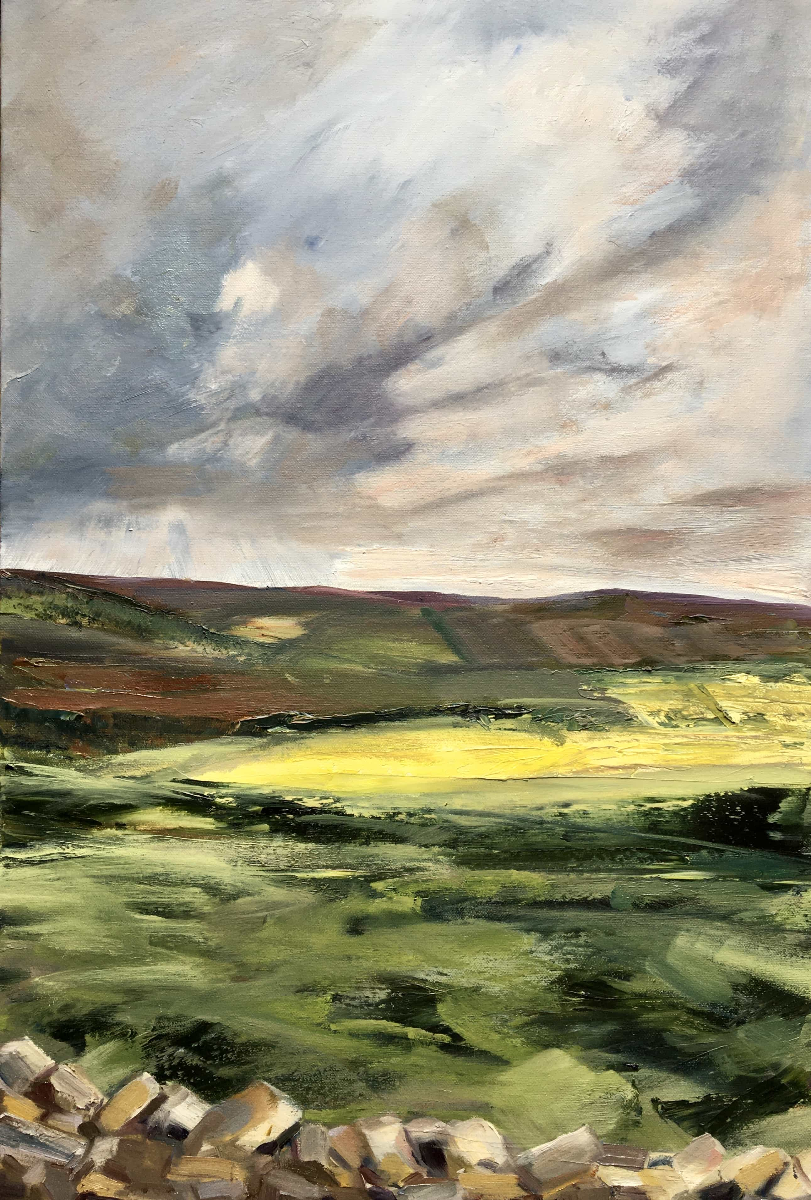 Oil Painting Allen Valley Landscape Northumberland Dry stone wall