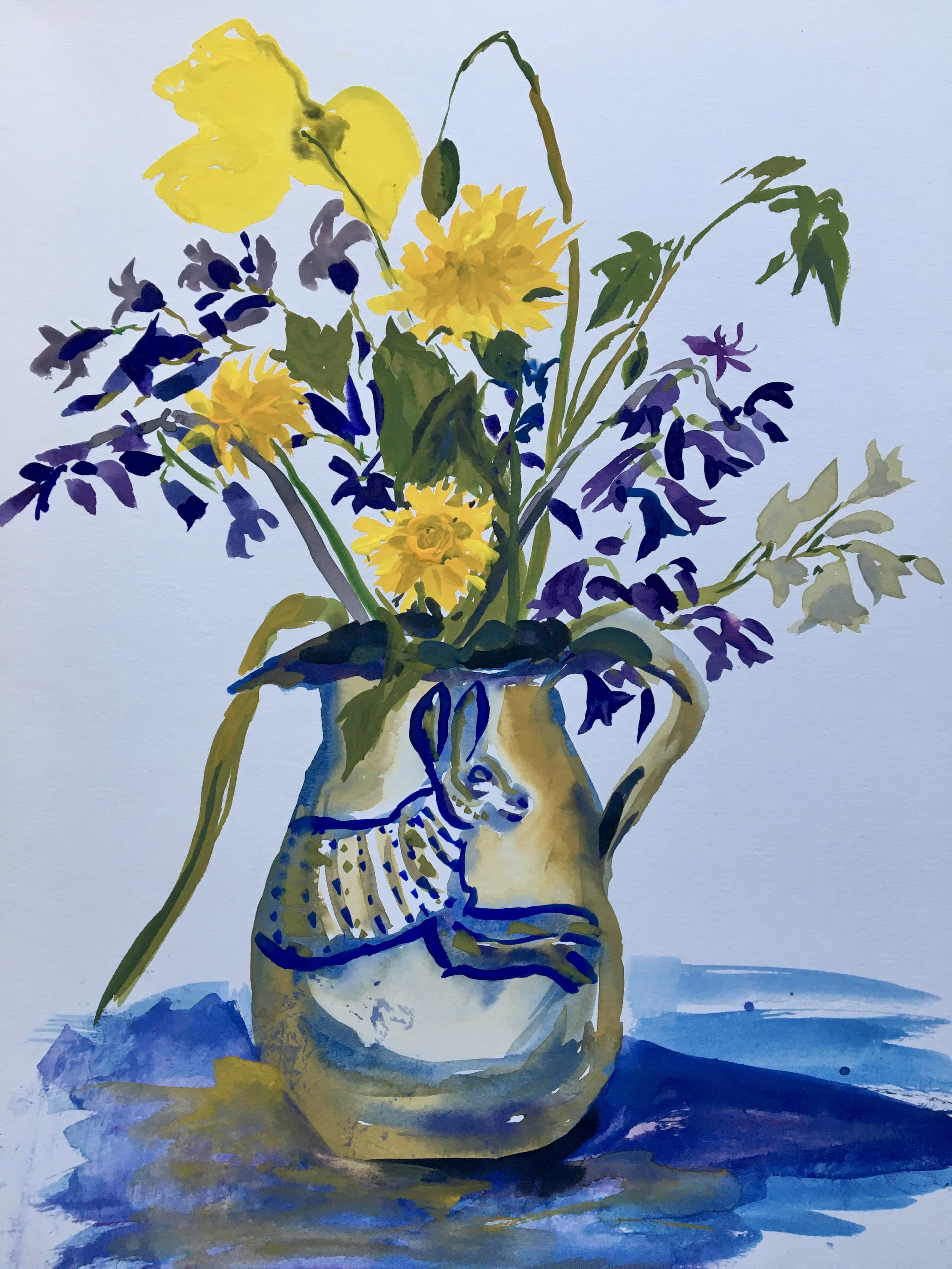 Spring flowers in rabbit jug yellow and blue gouache painting