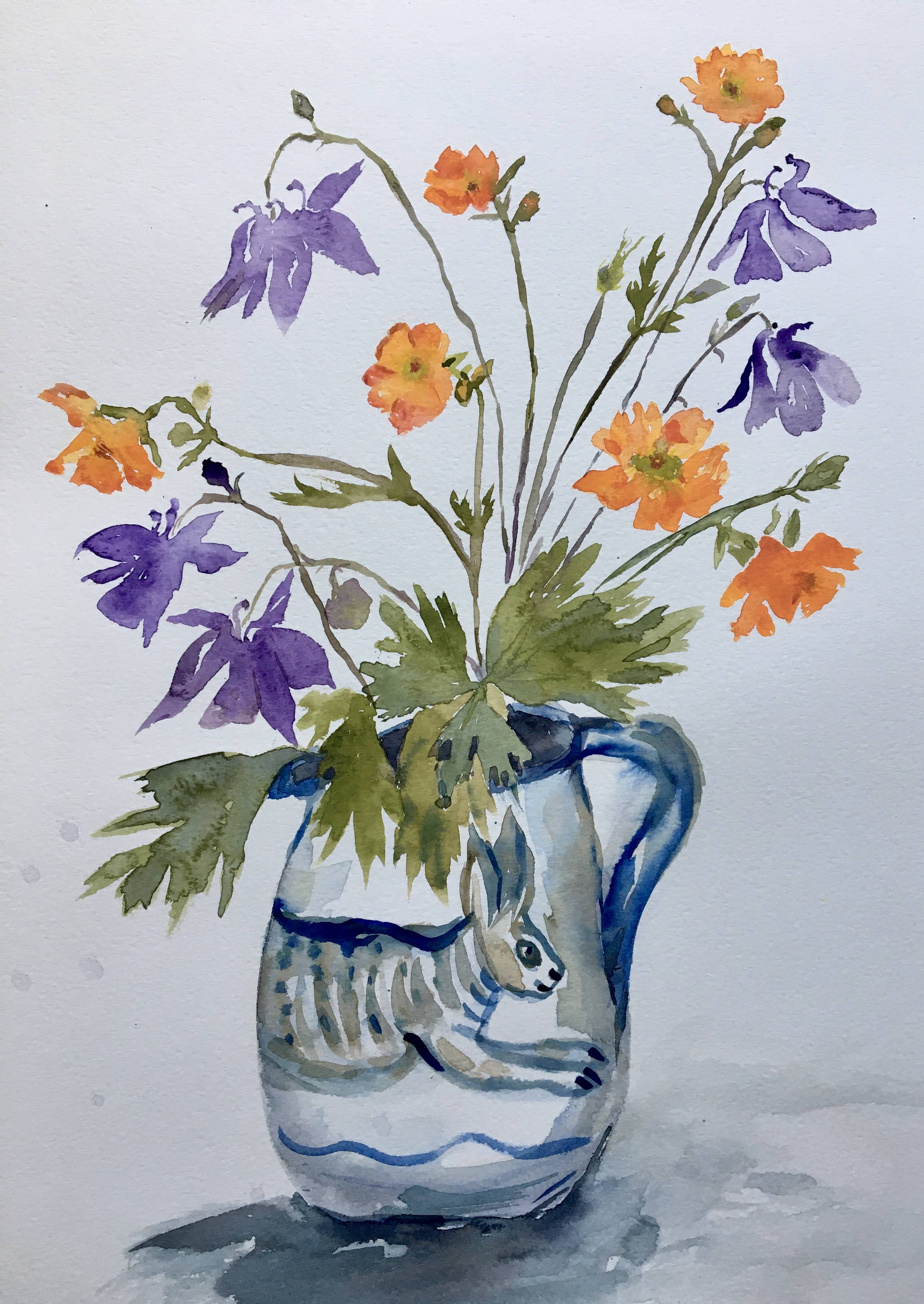 Watercolour of flowers rabbit jug