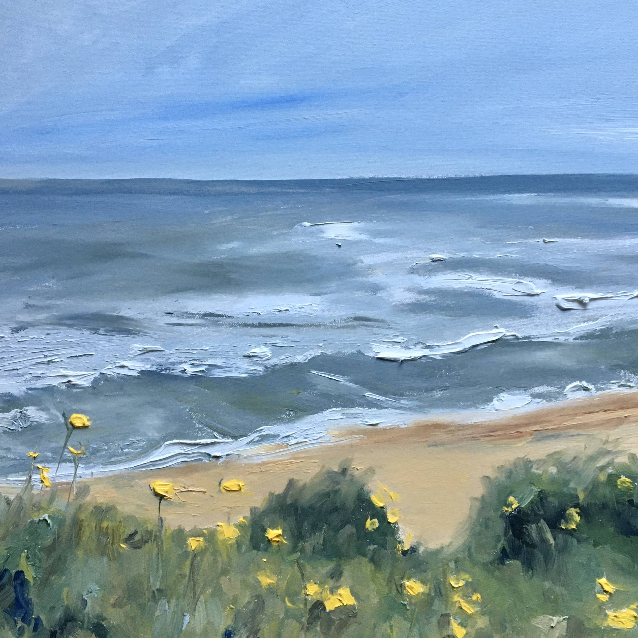 seascape painting in oils northumberland coast Boulmer Craster