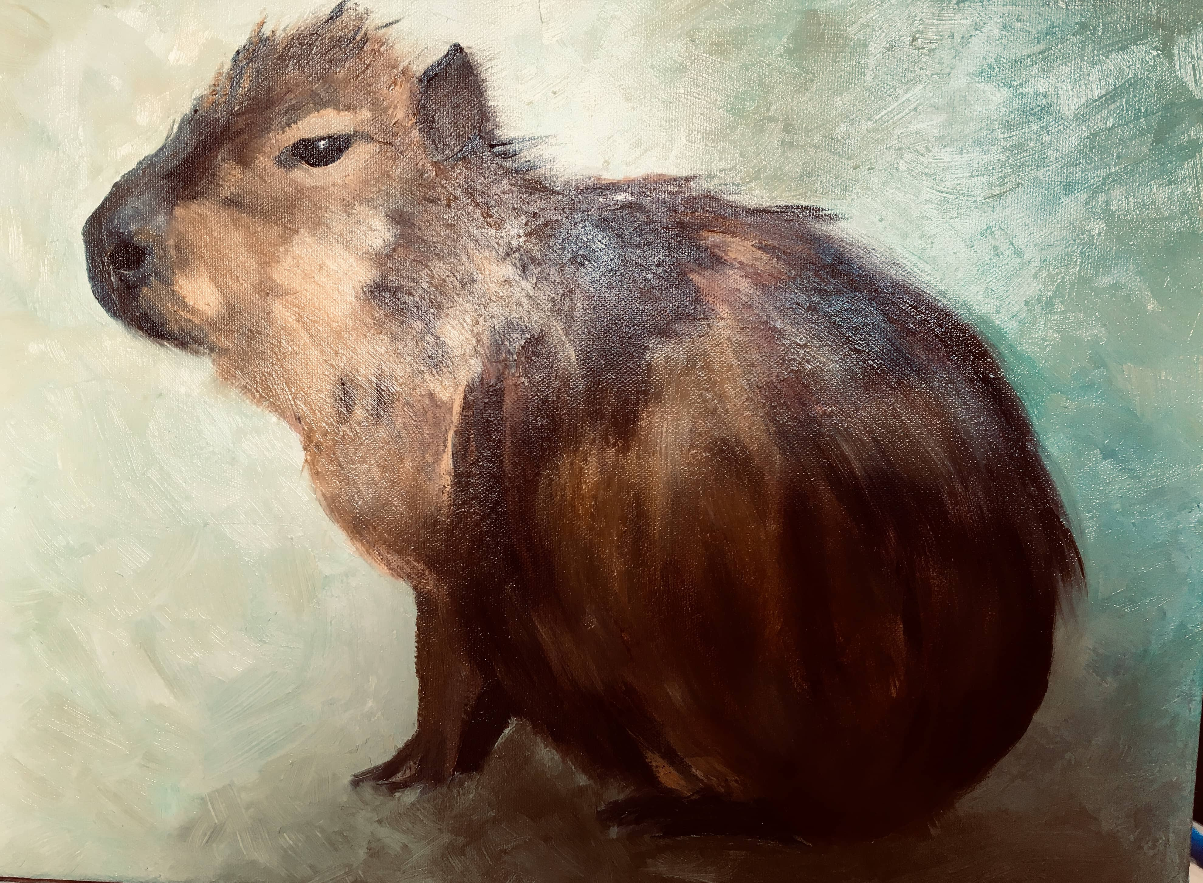 capybara oil painting green and brown