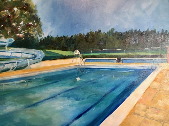 Outdoor swimming pool oil painting lido northumberland haltwhistle