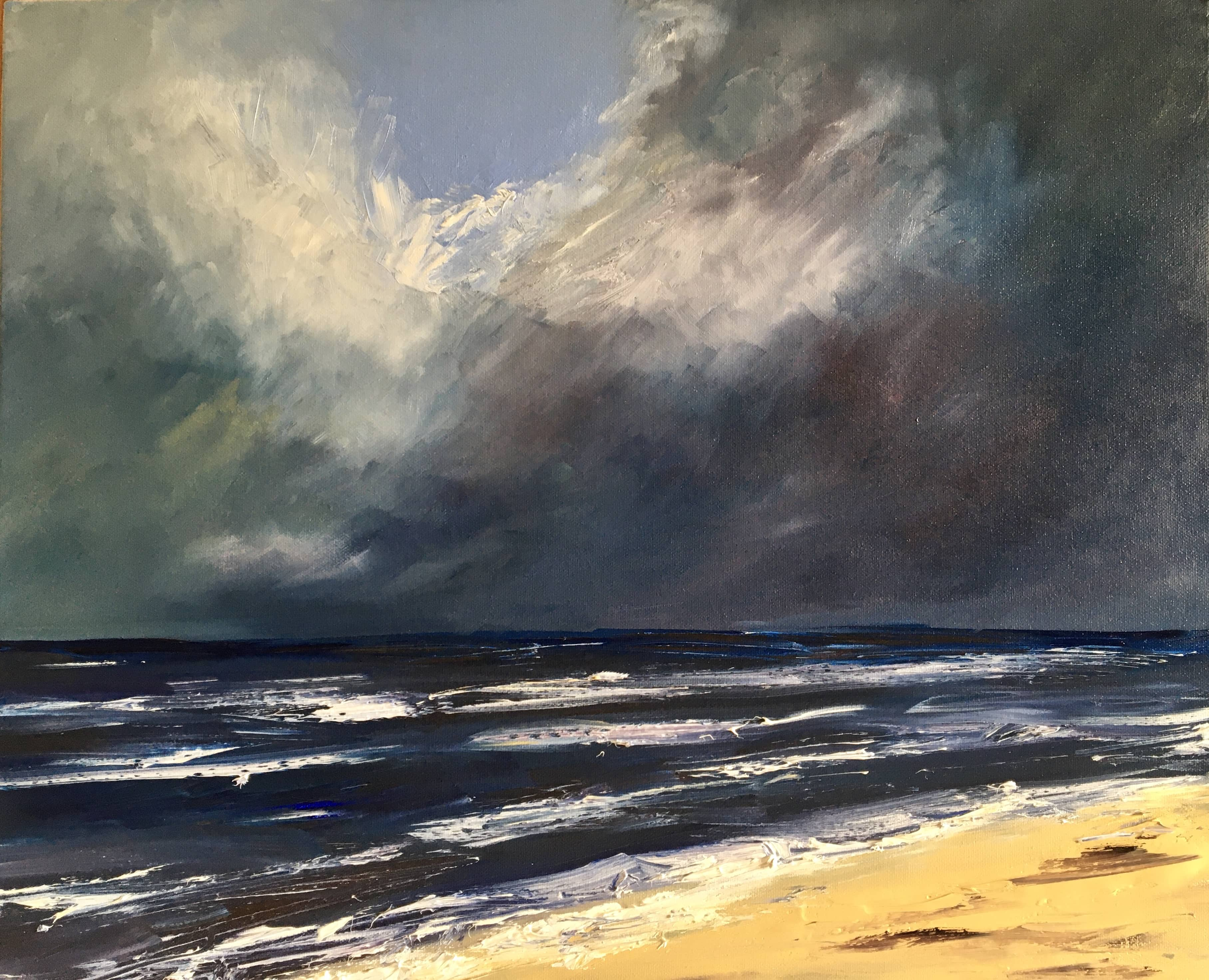 Oil painting seascape waves storm clouds Northumberland coast Druridge Bay