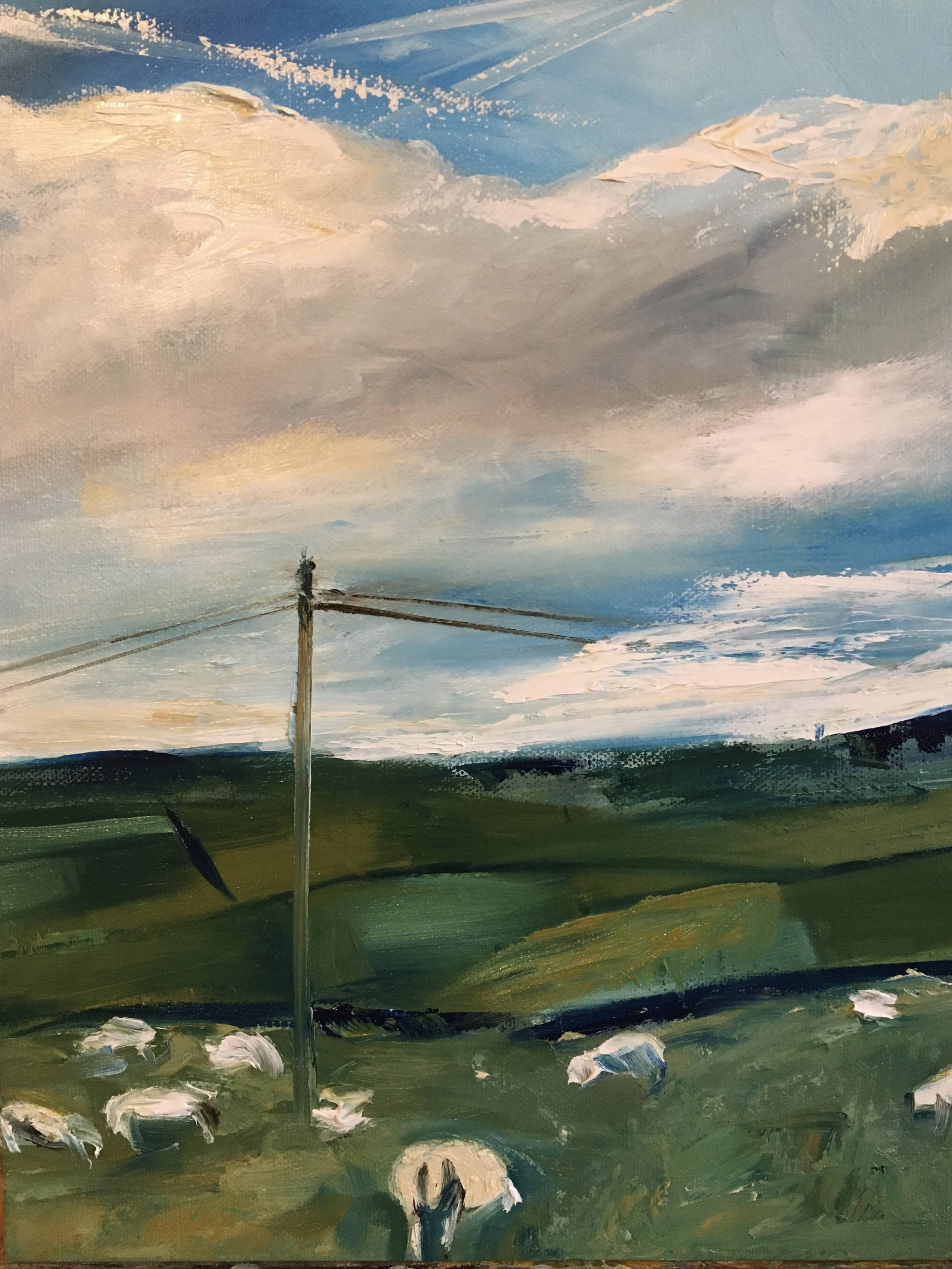oil painting landscape with sheep northumberland blue sky clouds green meadow